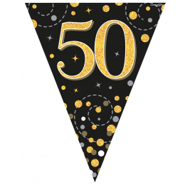 50th Birthday Black & Gold Sparkling Fizz Holographic Party Bunting 11 flags 3.9m
