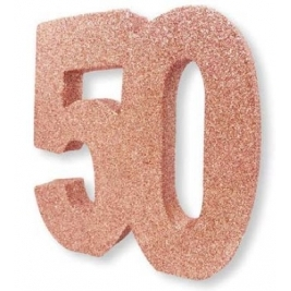 Number 50 Rose Gold Glitter Table Decoration