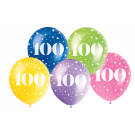 100th Birthday Balloons Assorted 12