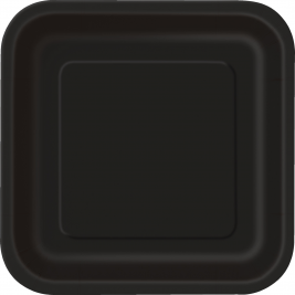 14 x Black SQUARE Paper Plates (9/23cm) by Black