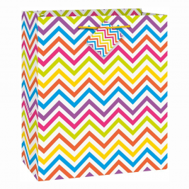 Rainbow Chevron Medium Gift Bag (Sold in 12s)