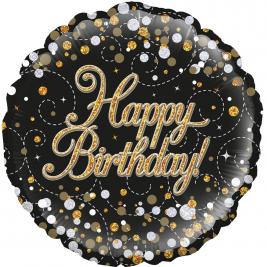 Happy Birthday Black & Gold Sparkling Fizz Holographic 18