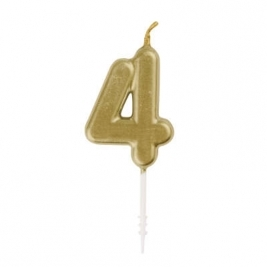 MINI GOLD PICK BDAY CANDLE #4