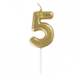 MINI GOLD PICK BDAY CANDLE #5