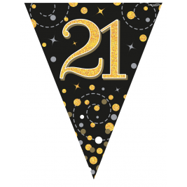 Party Bunting Sparkling Fizz 21 Black & Gold Holographic 11 flags 3.9