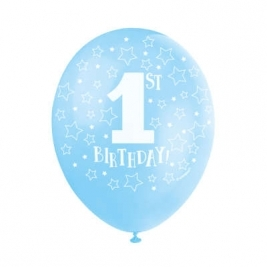 1st BIRTHDAY BLUE COLOR BALLOONS PACK OF 5
