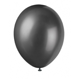INK BLACK Solid colour Pearlised Premium Balloons 12