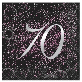 Pink Glitz 70th Birthday Luncheon Napkins (16pk)