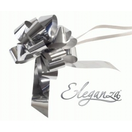 Eleganza Poly Pull Bows Metallic Silver - 30mm x 30pcs