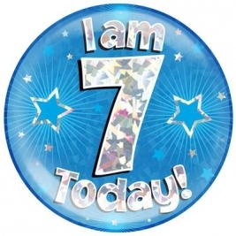 I am 7 Today - Blue Holographic Jumbo Badge
