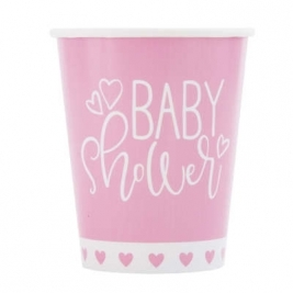 Baby Shower Pink Hearts 9oz Paper Cups Pack of 8
