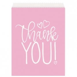 Baby Shower Pink Hearts Paper Goodie Bags Pack of 8