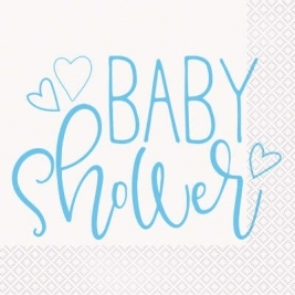 Baby Shower Blue Hearts Luncheon Napkins Pack of 16