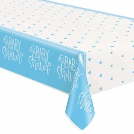 Baby Shower Blue Hearts Rectangular Plastic Table Cover 54