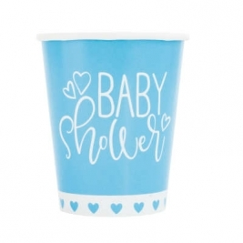 Baby Shower Blue Hearts 9oz Paper Cups Pack of 8