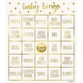Gold Baby Shower Bingo Kit for 8 - Foil Stamped