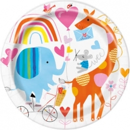 Baby Shower Zoo Round 9 Inch Dinner Plates Pack of 8