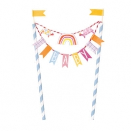 Baby Shower Zoo Bunting Cake Topper
