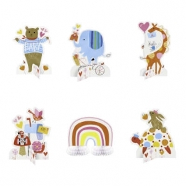 Baby Shower Zoo Centerpiece Decorations Pack of 6