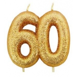 Age 60 Gold Glitter Numeral Candle