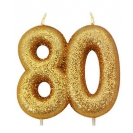 Age 80 Gold Glitter Numeral Candle