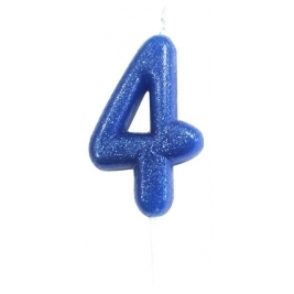Age 4 Blue Glitter Numeral Candle