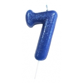Age 7 Blue Glitter Numeral Candle