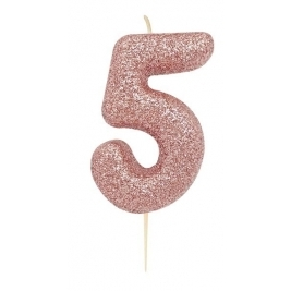 Age 5 Rose Gold Glitter Numeral Candle