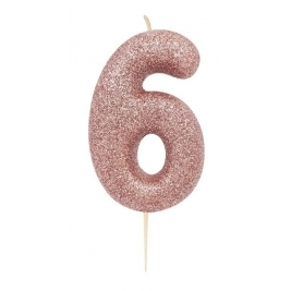 Age 6 Rose Gold Glitter Numeral Candle