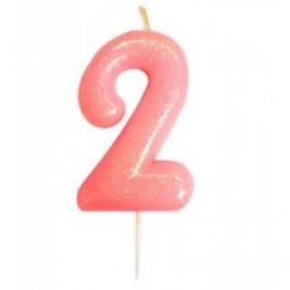 Age 2 Pink Glitter Numeral Candle