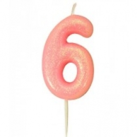 Age 6 Pink Glitter Numeral Candle