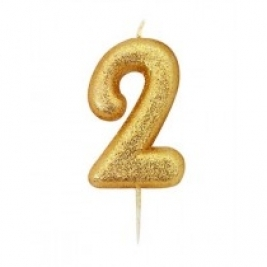 Age 2 Gold Glitter Numeral Candle