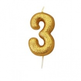 Age 3 Gold Glitter Numeral Candle