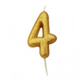 Age 4 Gold Glitter Numeral Candle