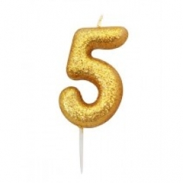 Age 5 Gold Glitter Numeral Candle