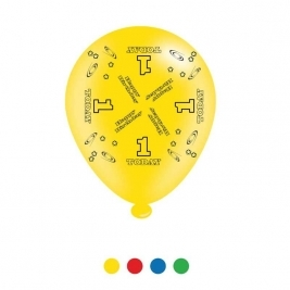 Age 1 Unisex Birthday Latex Balloons - Pack of 8