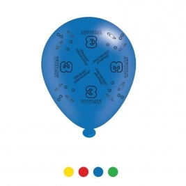 Age 3 Unisex Birthday Latex Balloons - Pack of 8