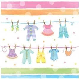 Baby Clothes Plastic Tablecover Border Print - 137 x 274cm