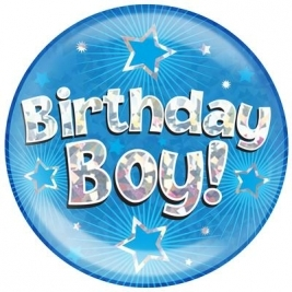 Birthday Boy Blue Holographic Dot Jumbo Badge 6
