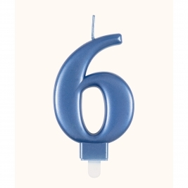 Blue Metallic Number 6 Candle