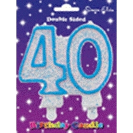 Blue Number 30 Glittered Birthday Candle