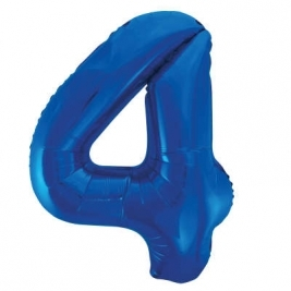 Blue Number 4 Foil Balloon - 34