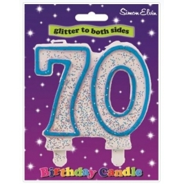 Blue Number 70 Glittered Birthday Candle