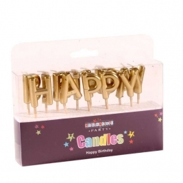 Happy Birthday Metallic Gold Pick Candle