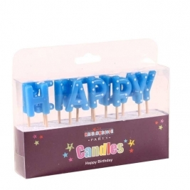 Happy Birthday Blue Pick Candle
