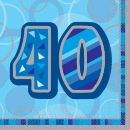 Glitz Blue 40th Birthday Paper Napkins - Pack of 16
