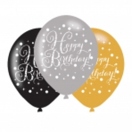 Gold Sparkling Celebration Happy Birthday Latex Balloons - Pack of 6