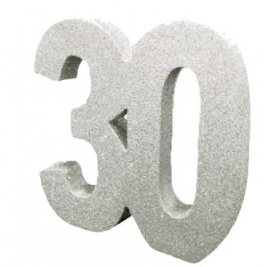 Number 30 Silver Glitter Table Decoration