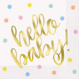 HELLO BABY Foil Stamped Gold Baby Shower Luncheon Napkins - Pack of 16