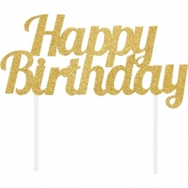 Happy Birthday Gold Glitter Cake Topper